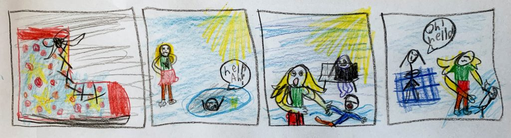 """8 year old's storyboard depiction of Peter Singer's """"Drowning Child"""" story as an analogy for our obligation to help fight extreme poverty."""