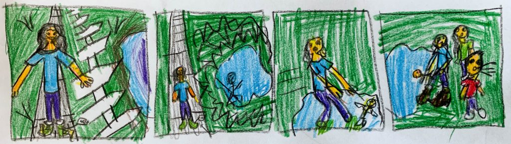 "10 year old's storyboard depiction of Peter Singer's ""Drowning Child"" story as an analogy for our obligation to help fight extreme poverty."