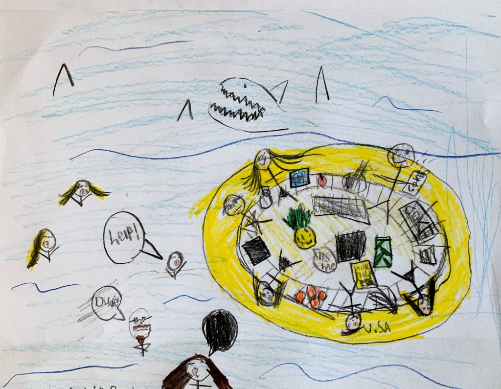 8 year old's depiction of Garrett Hardin's lifeboat analogy for nations prioritizing their citizens own needs over the needs in other nations.